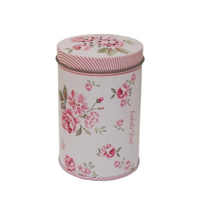 Ružová plechová cukornička s motívmi ruží