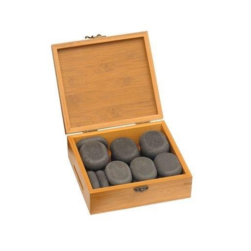 Hot Stones - sada v bambusové krabičke, 18 ks