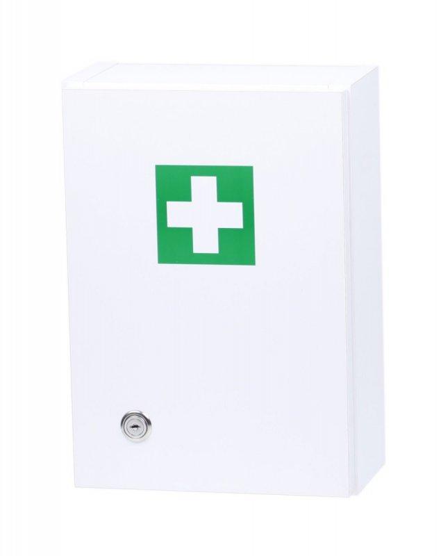 Dřevěná bílá lékárnička ne zeď