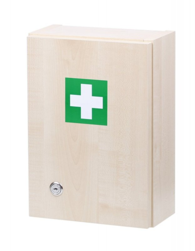 Dřevěná lékárnička na zeď s křížem