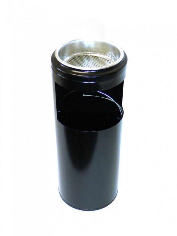 Černý odpadkový koš s popelníkem