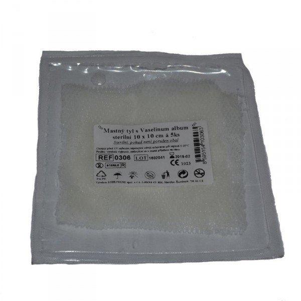 Mastný tyl sterilný 10 cm x 10 cm - 5 ks