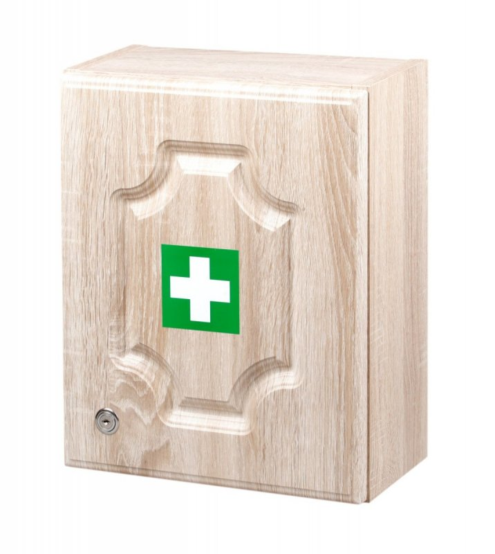 Lekárnička na stenu LUX pre 20 osôb s náplňou – farba - dub