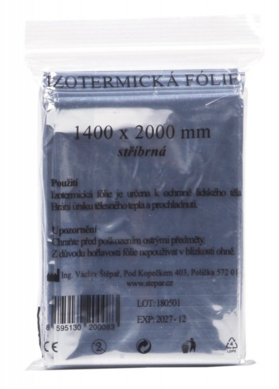 Izotermická folie 1400 mm x 2000 mm stříbrná