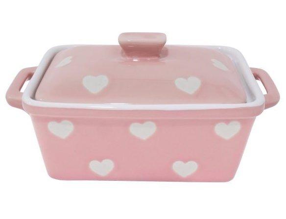 Keramická máslenka / zapekacia miska s pokrievkou - ružová so srdiečkami