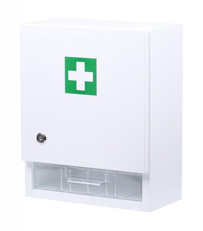 Nástenná lekárnička pre 20 osôb s náplňou – drevo - biela