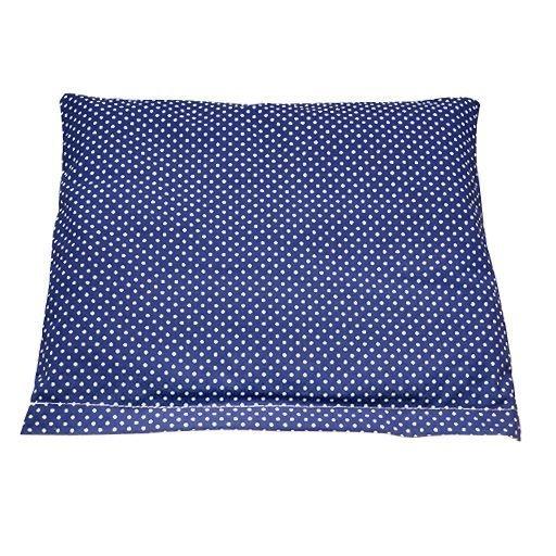 Polštářek z třešňových pecek, modrý s puntíky, 23 x 25 cm