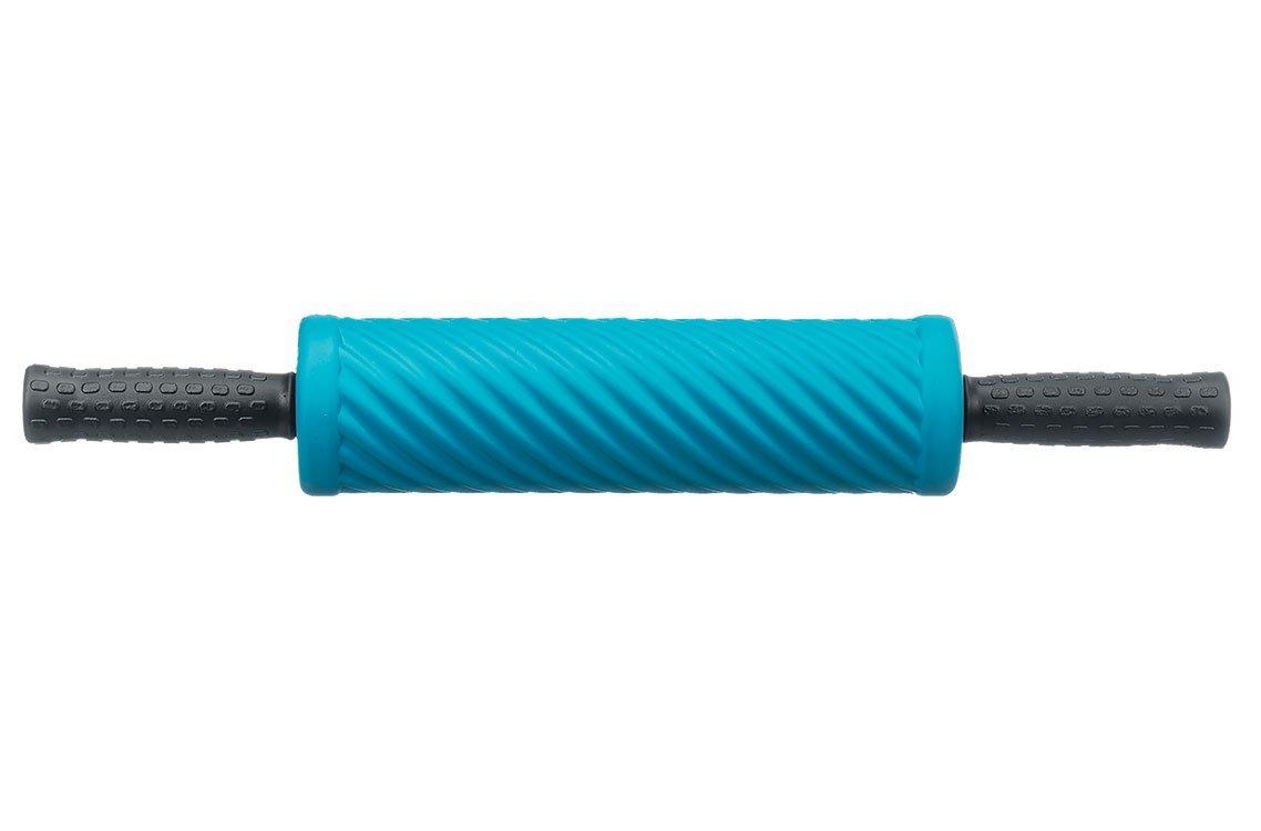 Cvičebný valec pre fasciálnej tréning, s vlnami a držadlami, modrý