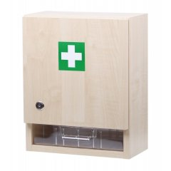 Nástenná lekárnička pre 20 osôb s náplňou – drevo