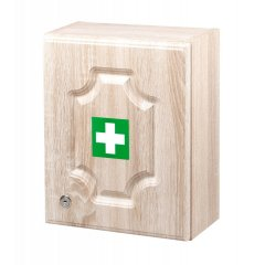 Nástenná lekárnička LUX pre 10 osôb s náplňou – farba - dub
