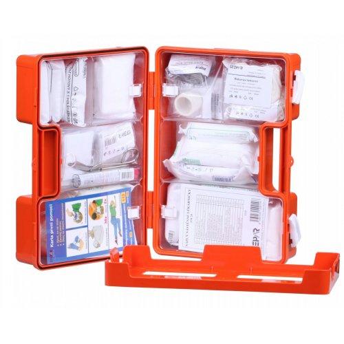 Lékárnička s výbavou v oranžovém kufříku