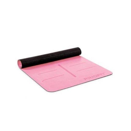 PINOFIT® Cvičební podložka pro jógu s navigačními značkami, růžová, 180 x 66 x 0,4 cm