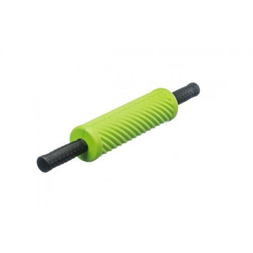 Cvičebný valec pre fasciálnej tréning, s vlnami a držadlami, zelený