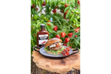 Burger s grilovaným portobello, sýrem brie a rajčatovou salsou