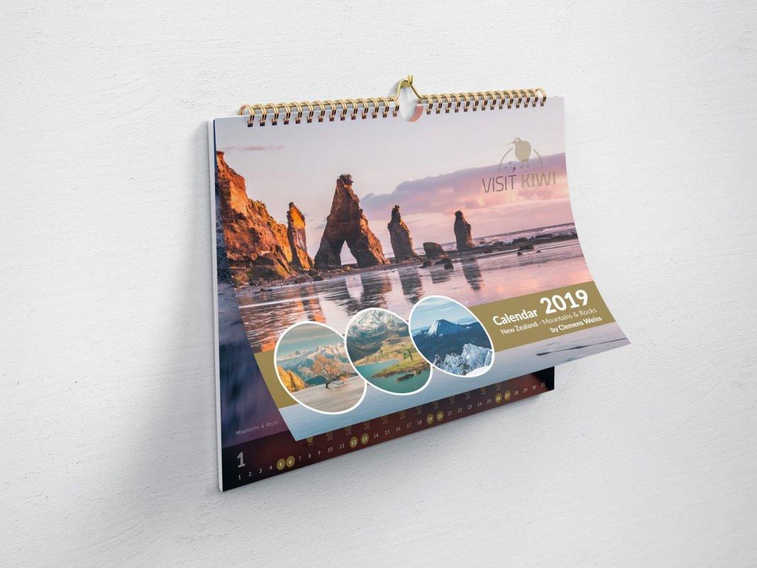 Kalendář Nový Zéland 2019 - formát A3