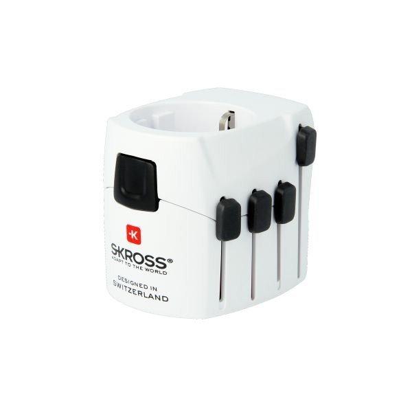 SKROSS PRO 3-pólový cestovní adaptér pro celý svět, 6.3A max, bílý