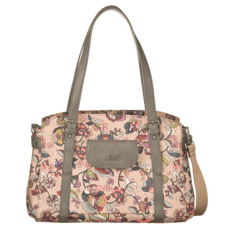 LiLiÓ Biba M Carry All Nougat středně velká květovaná kabelka 36x14x25 cm