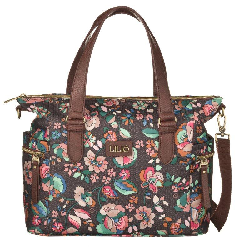 LiLiÓ Biba Handbag Chestnut středně velká květovaná kabelka 31x11x27 cm
