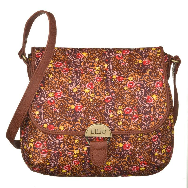 LiLiÓ Ditsy S Shoulder Bag Bright Sienna malá oblouková květovaná kabelka 24x7x19 cm