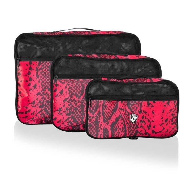 Heys Exotic Packing Cube Set Red Python sada 3 organizérů do zavazadel