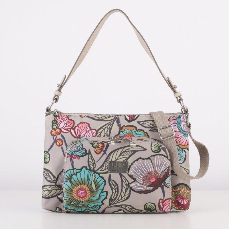 Levně LiLiÓ Urban Peony M Flat Shoulder Bag kabelka 32x21x4 cm Café au Lait