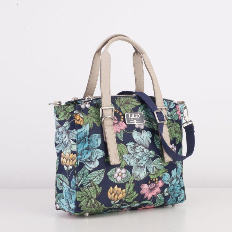 LiLiÓ Etch Flowers S Handbag květovaná kabelka 27,5 cm Preppy Navy
