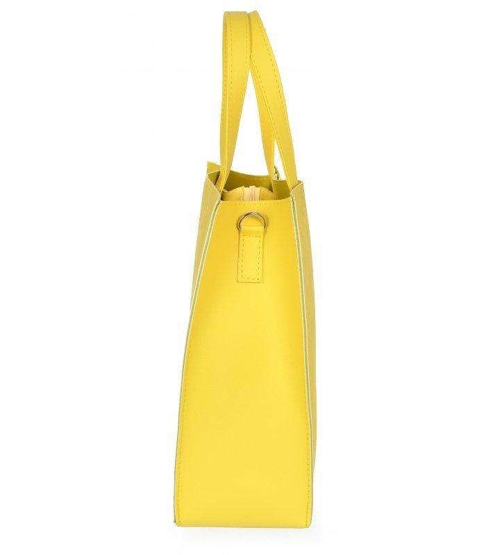 Žlutá moderní obdélníková dámská kabelka S753 GROSSO