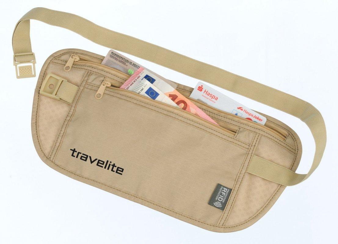 Travelite Waist Pouch RFID bezpečnostní ledvinka na cennosti béžová
