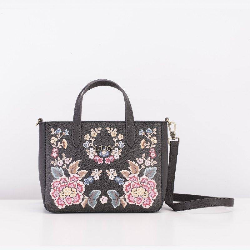 LiLiÓ Winter Poppy Special XS květovaná kabelka 23 cm Charcoal