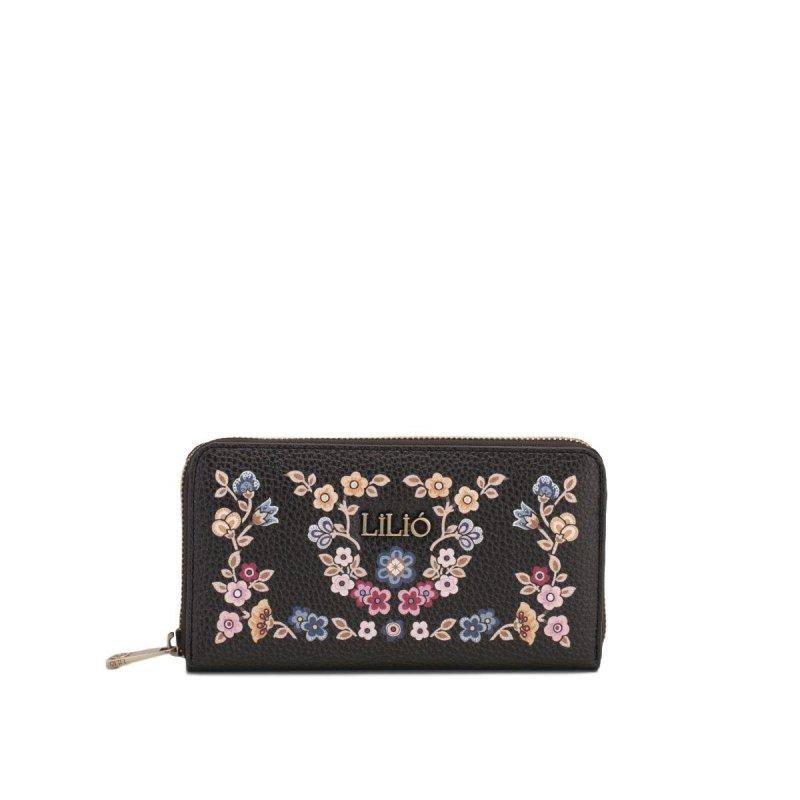 LiLiÓ Winter Poppy Special L Zip květovaná peněženka 19,5 cm Charcoal