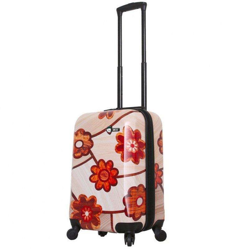 Levně Mia Toro M1355/3-S Ricci Wood Mozaic Flowers palubní kufr TSA 55 cm 39-49 l