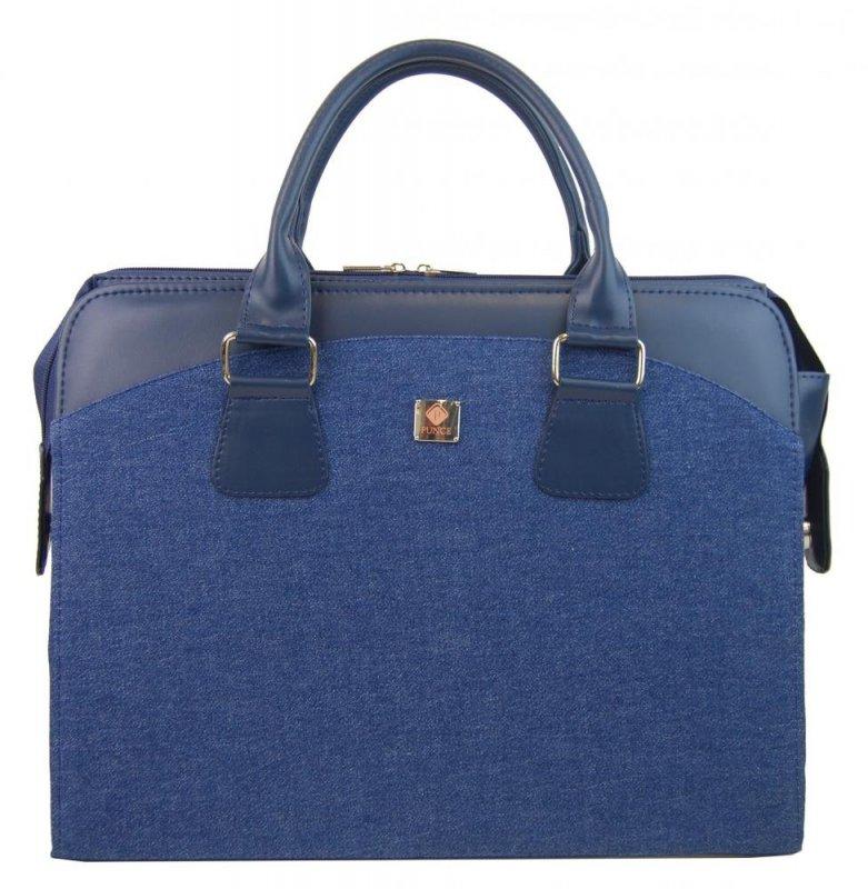 PUNCE LC-01 riflová modrá dámská kabelka pro notebook do 15.6 palce