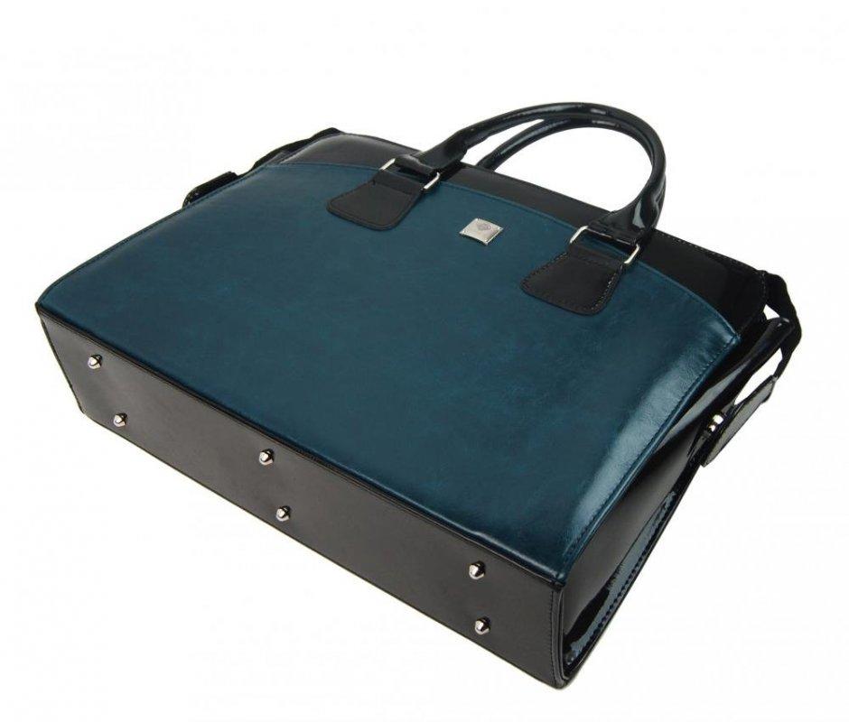 PUNCE LC-01 modrá petrolejová dámská kabelka pro notebook do 15.6 palce