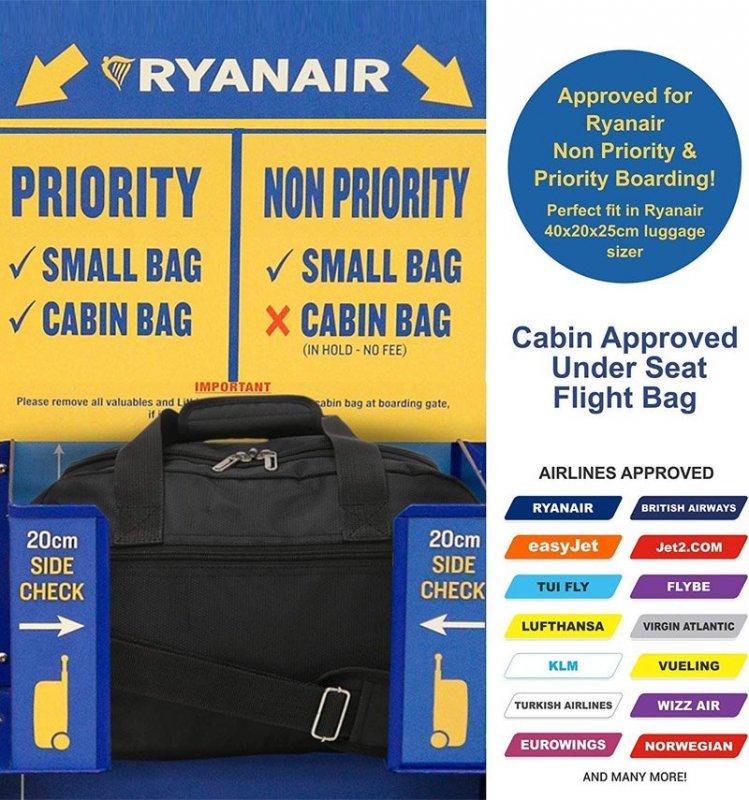 Aerolite 615 palubní cestovní taška Ryanair 40x20x25 cm šedá