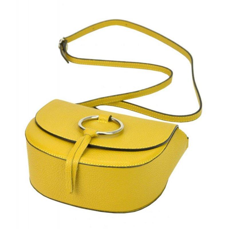 Kožená žlutá malá dámská crossbody kabelka Patrizia Piu Dollaro