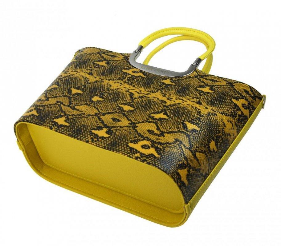 Hořčicově žlutá hadí matná kabelka do ruky S7 GROSSO