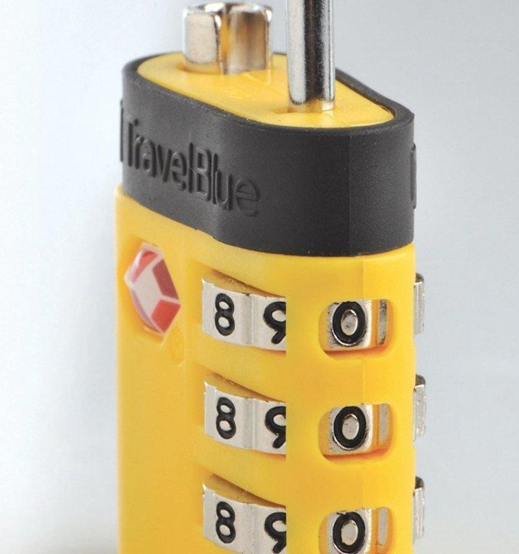 TravelBlue TB037 bezpečnostní TSA kódový zámek na zavazadla, žlutý