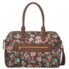 LiLiÓ Biba Carry All Chestnut květovaná kabelka s držákem na notebook 42x12x27 cm