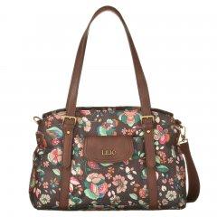 LiLiÓ Biba M Carry All Chestnut středně velká květovaná kabelka 36x14x25 cm