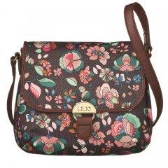 LiLiÓ Biba S Shoulder Bag Chestnut malá oblouková květovaná kabelka 24x7x19 cm