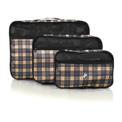 Heys Exotic Packing Cube Set Yellow Plaid sada 3 organizérů do zavazadel