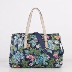 LiLiÓ Etch Flowers M Carry All středně velká kabelka 37x27x12 cm Preppy Navy
