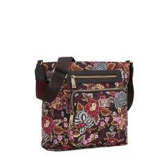 LiLiÓ Winter Poppy M Shoulder Bag květovaná kabelka 29 cm Pecan