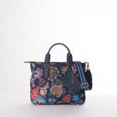 Oilily Amelie Sits Handbag květovaná kabelka 28 cm Black Iris