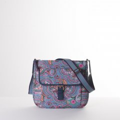 Oilily Helena Paisley M Shoulder Bag květovaná kabelka 27 cm Adriac Blue