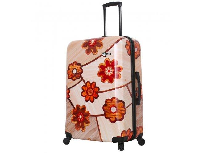 Mia Toro M1355/3-L Ricci Wood Mozaic Flowers cestovní kufr TSA 74 cm 98-123 l