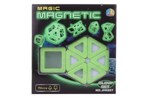 Magnetická stavebnice 14 ks svítící