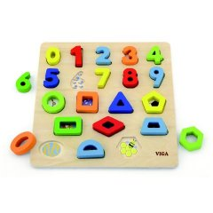 Dřevěná vkládačka - čísla a tvary