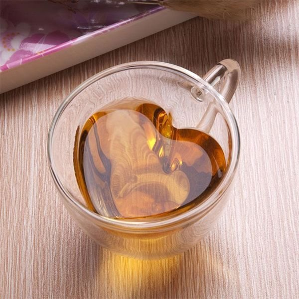 Srdcový šálek s dvojitým sklem