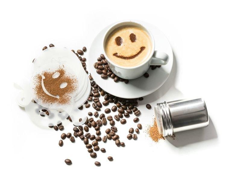 Šablony na kávu 16 ks/sada se zdobícím sítkem